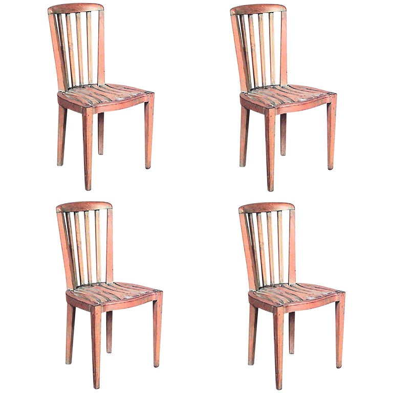 Set of Four French Art Deco Bleached Side Chairs