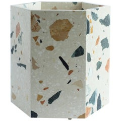 Contemporary Hexagonal White Marmoreal Stone Planter by Fort Standard, in Stock