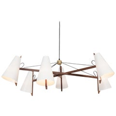 Hood Chandelier in Walnut by Brendan Ravenhill