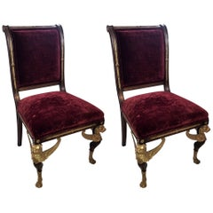 Pair of French Empire Winged Lion Gilt Bronze Ormolu-Mounted Side Chairs