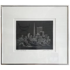 Bay Artist John Haley Etching San Francisco Cityscape, 1905-1991