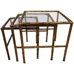 Jansen Set of Three Faux Bamboo Gilt Metal Nesting Stacking Bagues Tables
