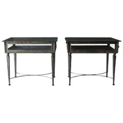 Pair of Italian Metal and Glass Side Tables, circa 1970