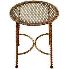 Hollywood Regency Style Gilt Wrought Iron Rope and Tassel Bench or Vanity Stool