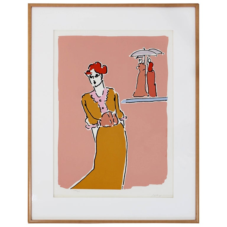 Mid-Century Modern Framed Print by Peter Max Two with Umbrellas Signed Numbered
