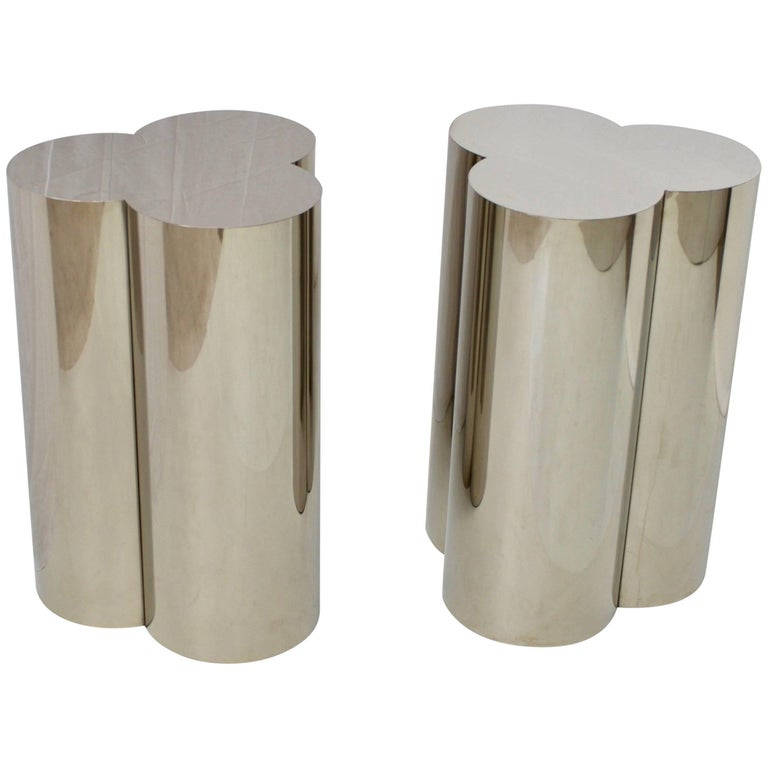 Pair of Chrome Finish Clover Pedestal Table Bases Attributed to C. Jere