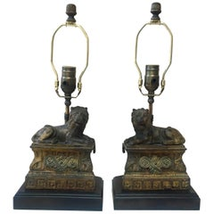 Pair of Cast Iron Lions Lamps, circa 1880