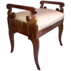 Wonderful Neoclassical Carved Walnut Biedermeier Empire Regency Bench Stool