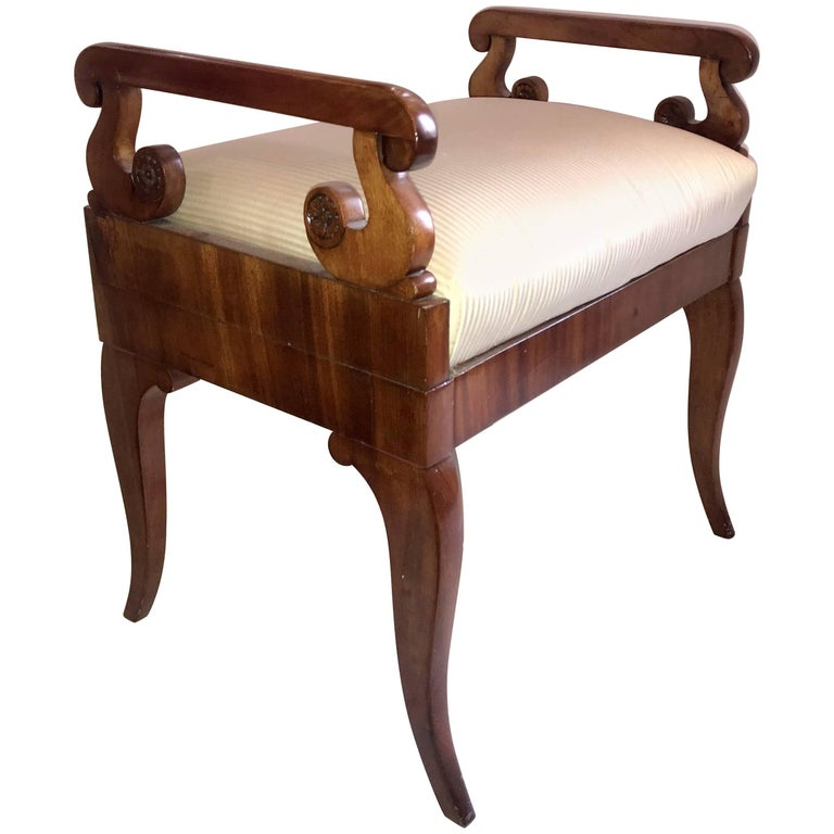 Wonderful Neoclassical Carved Walnut Biedermeier Empire Regency Bench Stool