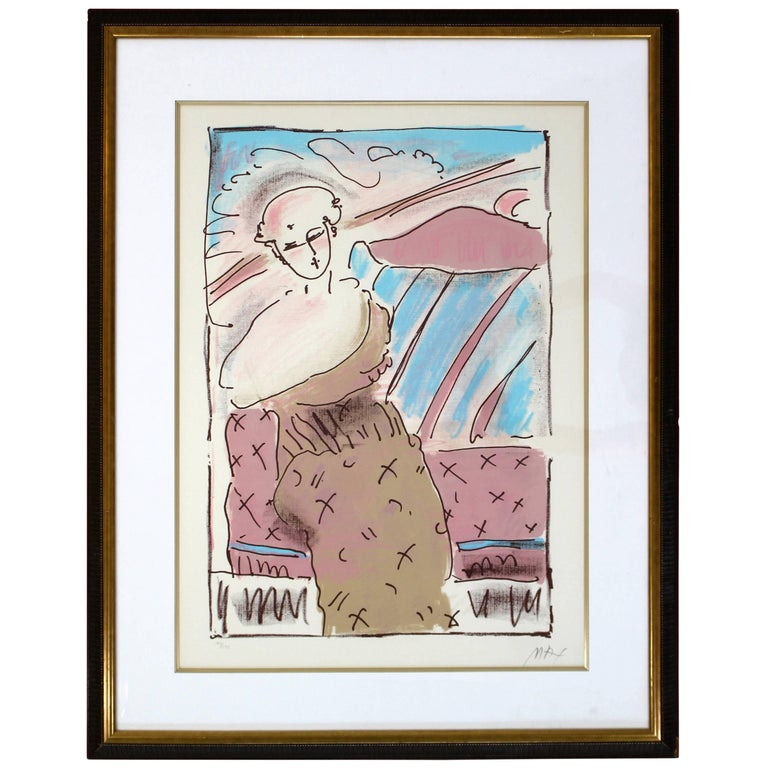 Mid-Century Modern Framed Print by Peter Max Seated Lady Signed Numbered