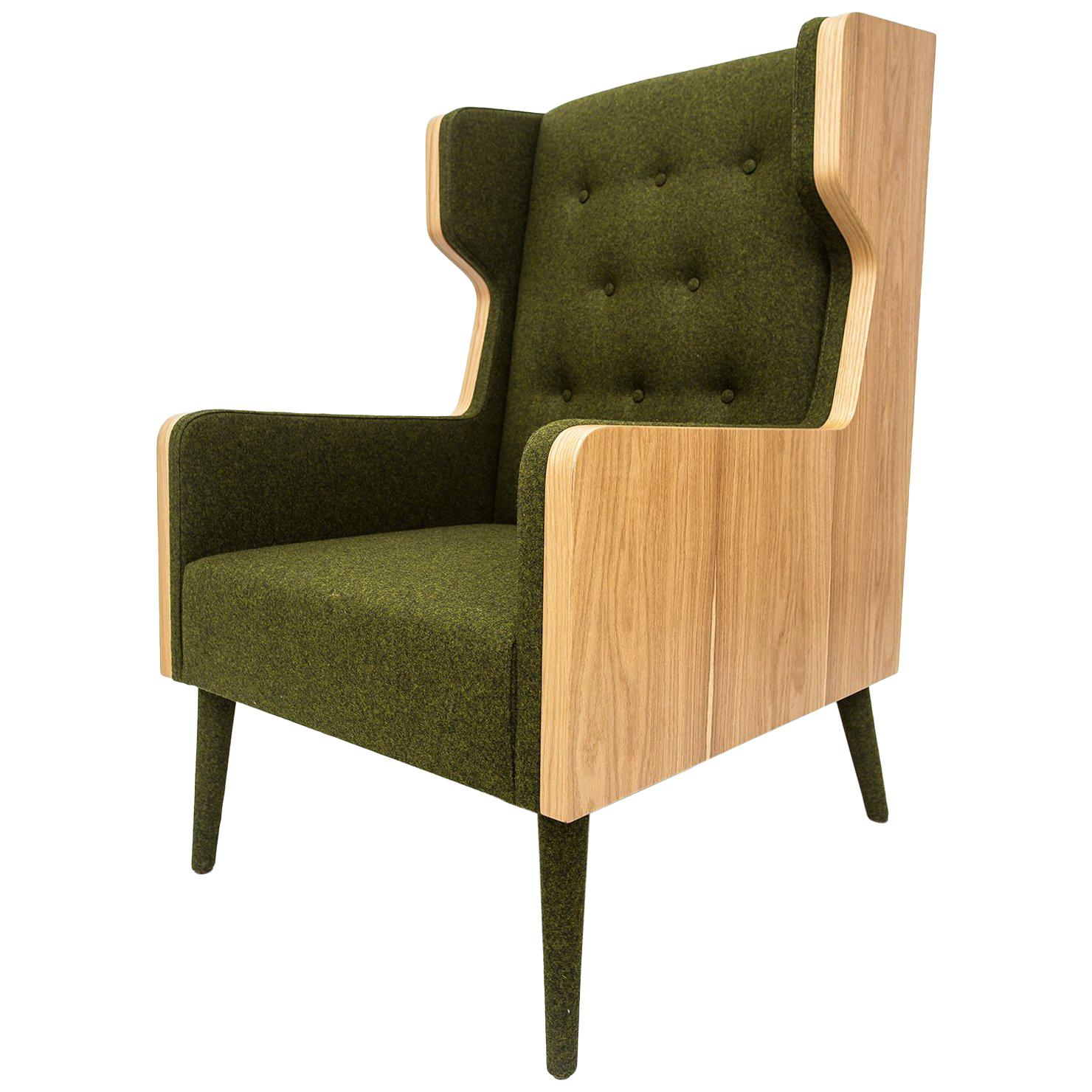 Contemporary American White Oak Felt Green Armchair