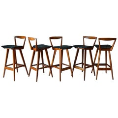Set of Five Barstools by Henry Rosengren Hansen, circa 1960