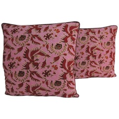 Pair of Vintage Red and Pink Silk Batik Decorative Pillows