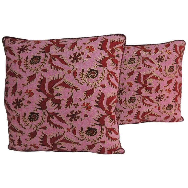 Pair of Vintage Red and Pink Silk Batik Decorative Pillows