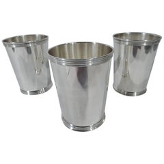 Set of Three American Midcentury Modern Sterling Silver Mint Julep Cups