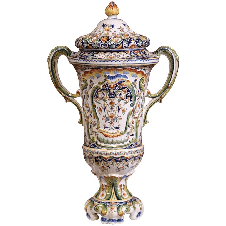Important 19th Century French Hand Painted Ceramic Vase With Lid