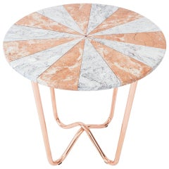 Contemporary Jasmine Pizza Pink Marble Side Table with Polished Copper Legs