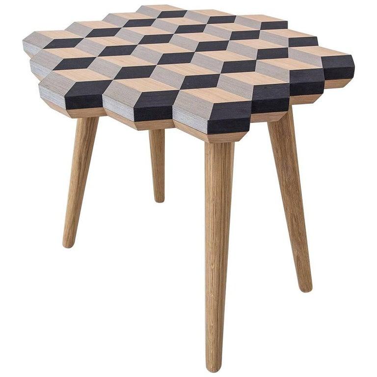 21st Century Marquetry Wood Veneer Cubic Dip Stool