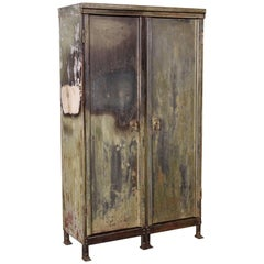 Vintage Distressed Painted Metal Storage Cabinet Locker