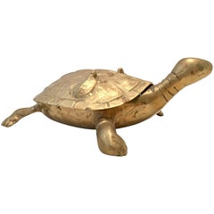 Vintage Solid Brass Large Turtle Lidded Box Sculpture