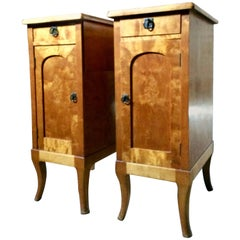 French Satinwood Bedside Tables Cabinets Nightstands Pair Antique Art Nouveau