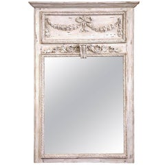 19th Century French Carved Oak Painted Trumeau Mirror from Normandy