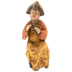 Vintage Terracotta Court Lady, Tang Style San Cai