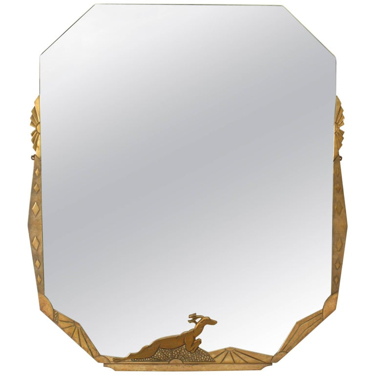French Art Deco Wall Mirror with a Geometric Design and Deer at Base