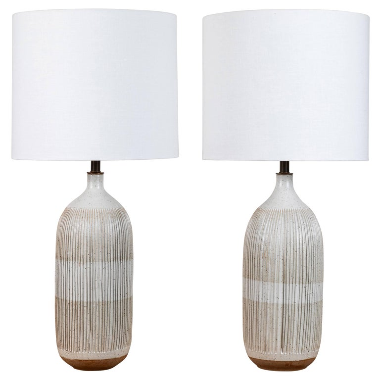 Pair of Striped Bottle Lamps by Mt. Washington for Lawson-Fenning