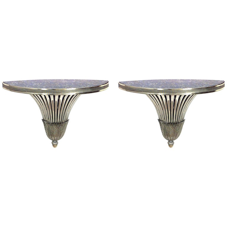 Pair of Art Deco Silver Plate Half Round Flair Design Wall Shelves
