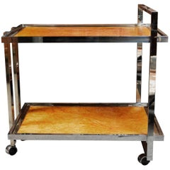 Stylish Chrome and Burl Wood Bar Cart by Willy Rizzo