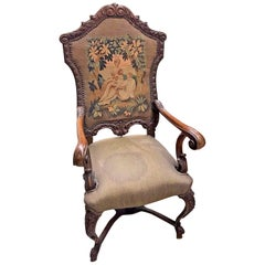 19th Century French Carved Walnut Armchair