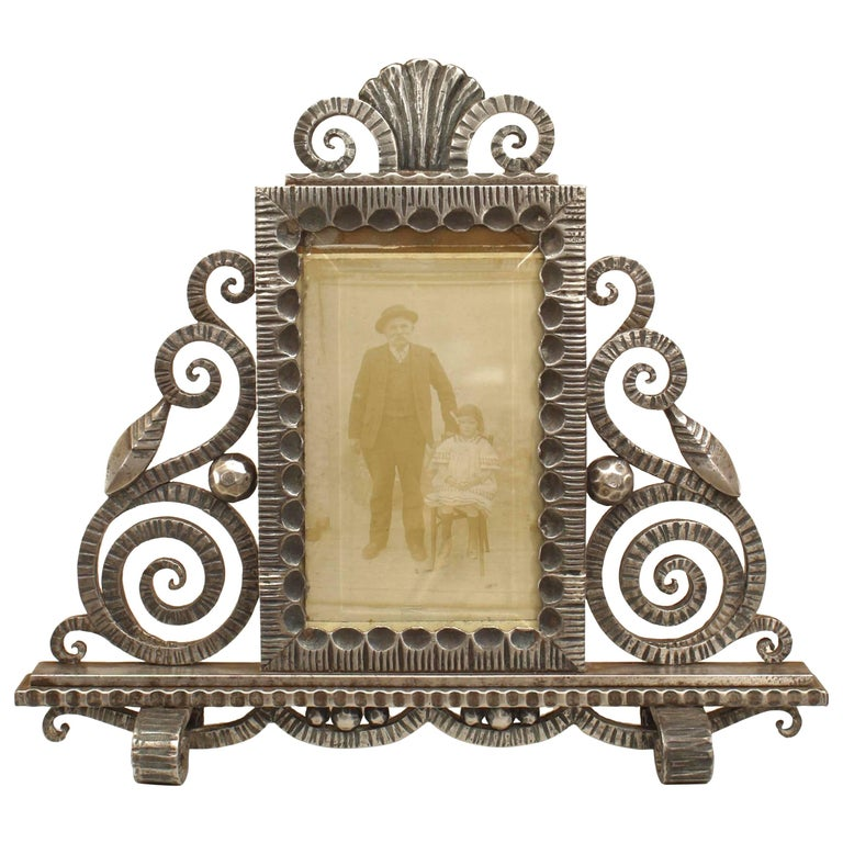 French Art Deco Wrought Iron Easel Picture Frame