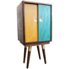 Beaker Cabinet with Walnut Hardwood and Brass 2018 by Post & Gleam