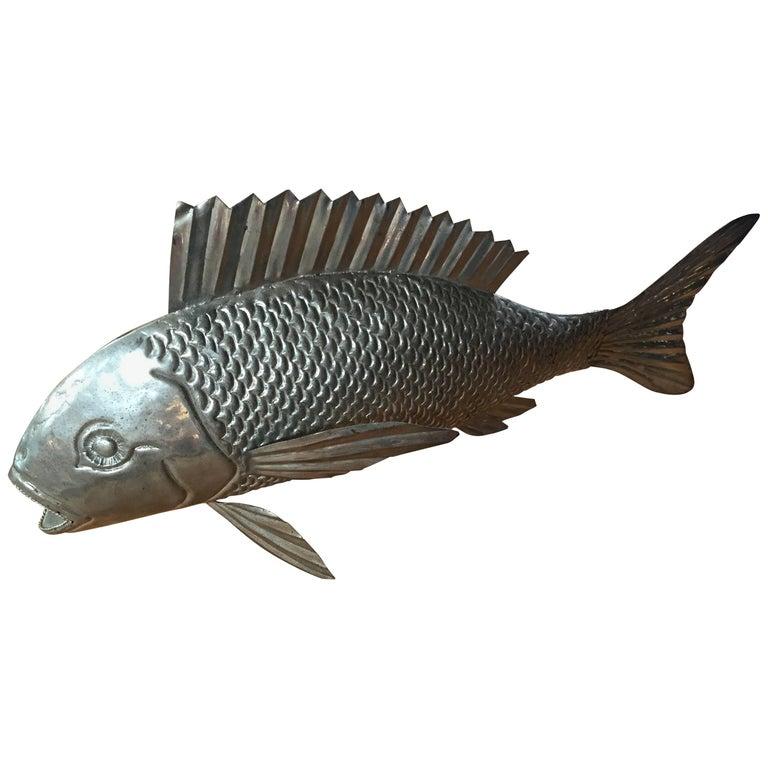 1960s Italian Metal Fish Sculpture For Sale