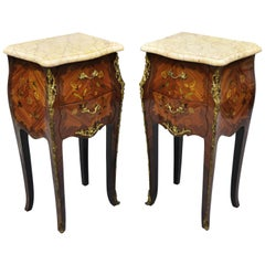 Louis XV French Style Bombe Form Floral Inlaid Marble-Top Nightstands, a Pair