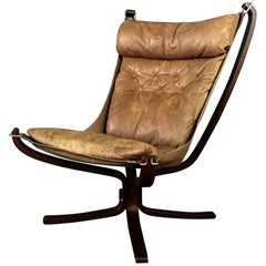 Sigurd Ressell High Back Cognac Leather Falcon Chair