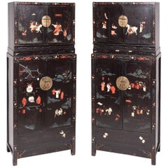 Pair of Early 17th Century Chinese Ming Painted Compound Cabinets