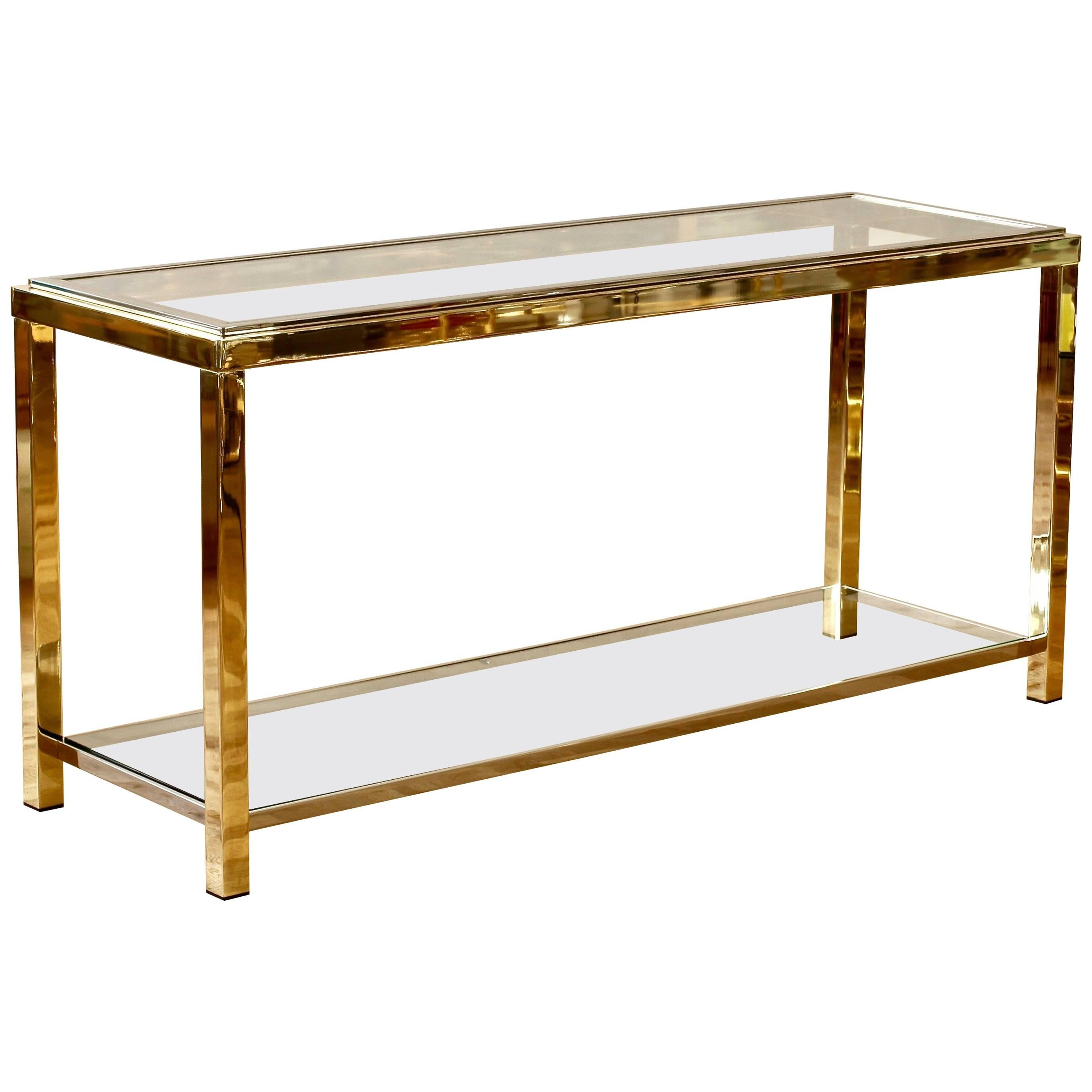 Willy Rizzo Style Brass U0026 Chrome Bicolor Two Tiered Double Shelved Console  Table