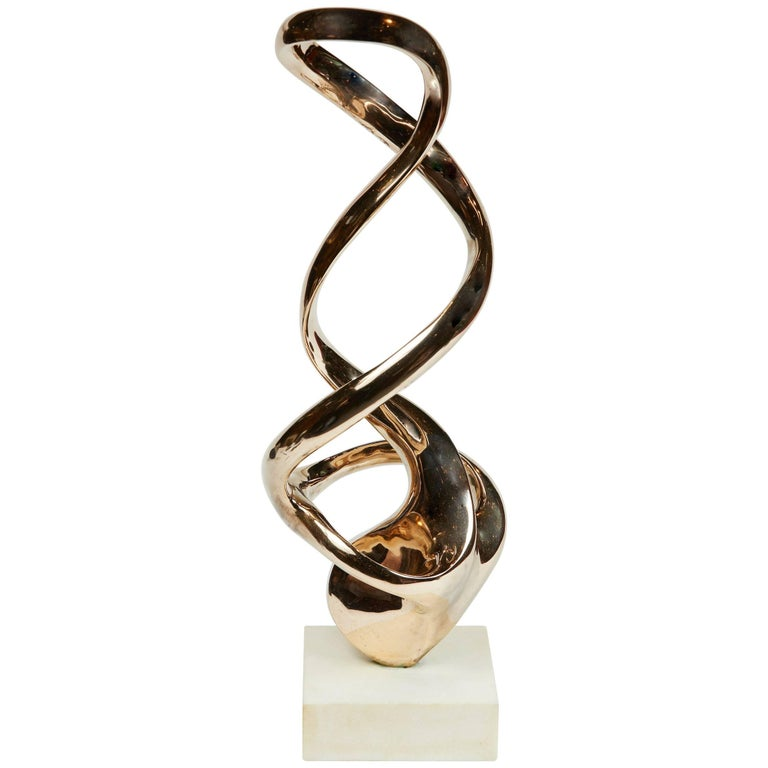 Abstract Polished Bronze Sculpture by Kieff