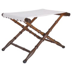 20th Century French Linen and Wood Folding Stool or Bench