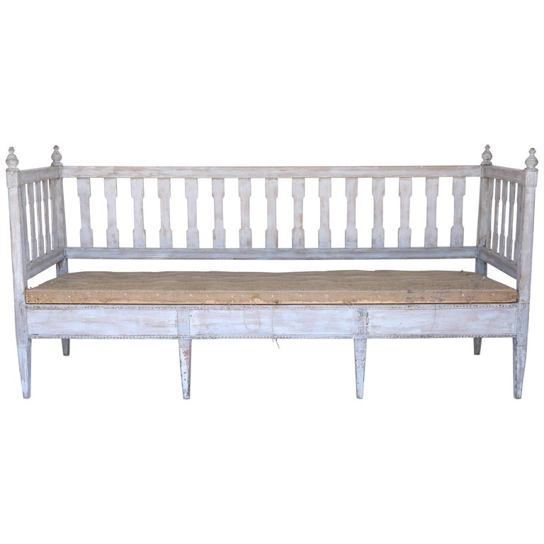Mid-19th Century Swedish Settee or Bench with Burlap Covered Seat