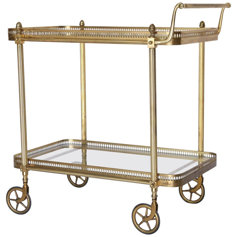 Vintage Brass Two-Tier Rolling Bar Cart with Glass Shelves