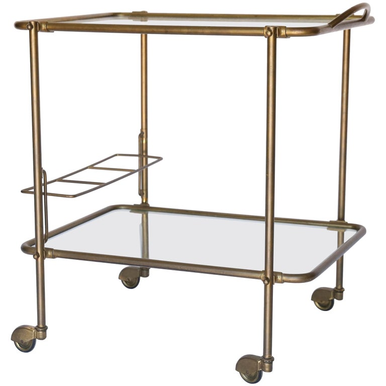 French Brass Two-Tier Rolling Bar Cart with Glass Shelves