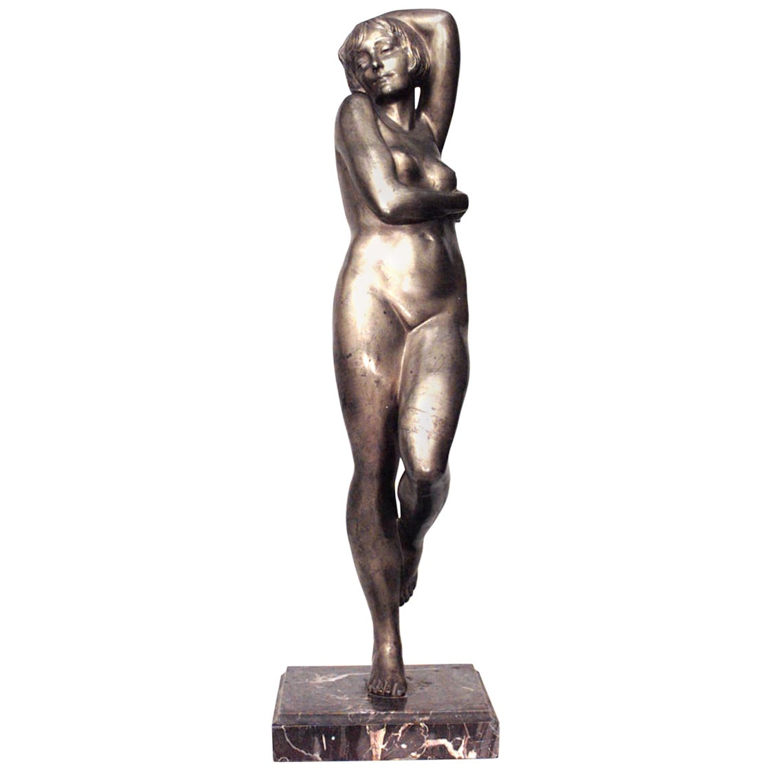 French Art Deco Bronze Figure of Nude Female Dancer