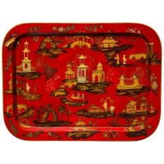 Regency Chinoiserie Scarlet Papier Mâché Rectangular Tray English, circa 1820