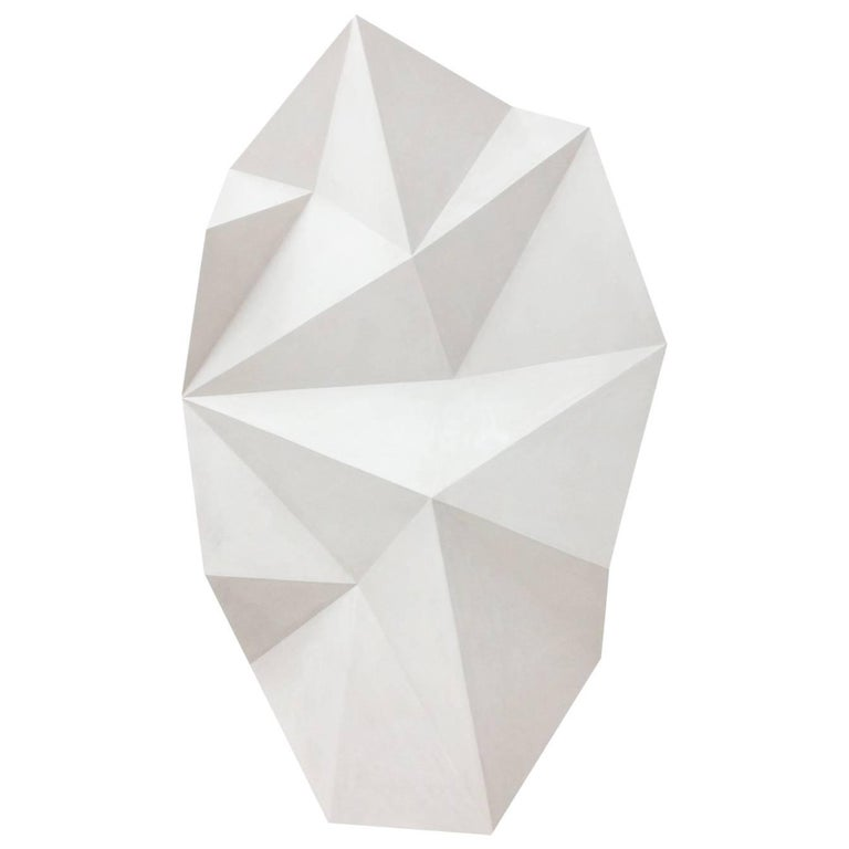Handmade White Origami Fold Sculpture Cast Hydrostone Wall Mounted