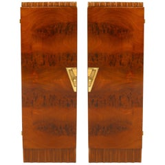 Pair of French Art Deco Mahogany Veneer Pedestals/Cabinets