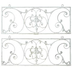 Two French Wrought Iron Panels Decorative Wall Hangings Antique Grills