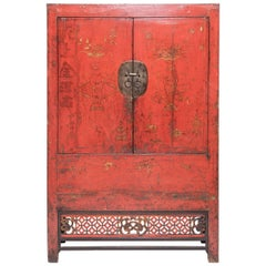 19th Century Chinese Gilt Red Lacquered Cabinet